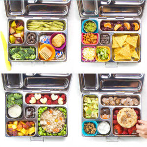 A grid of 4 bento boxes filled with kids school lunches.
