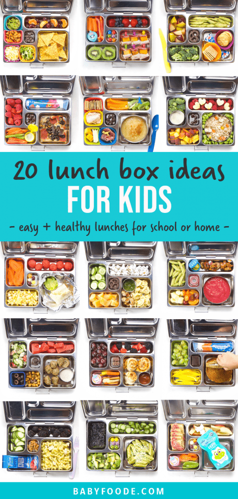 Graphic for post - 20 lunch box ideas for kids - easy and healthy lunches for school or home. Grid of images of lunch boxes for school for kids.