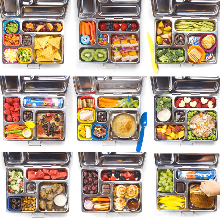 Grid of school lunches for kids.