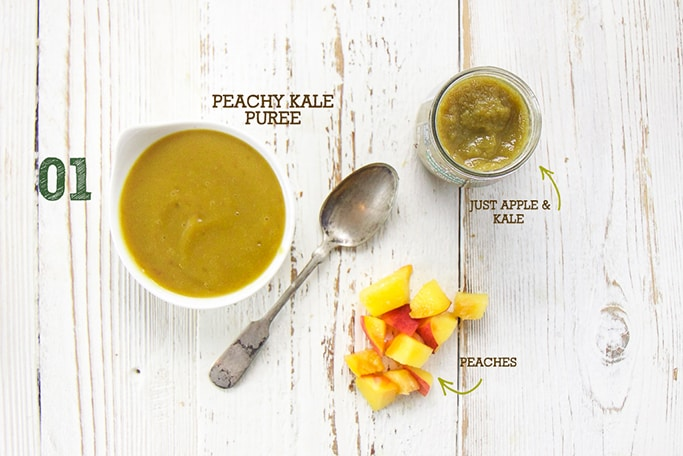 A spread of ingredients in this Peachy Kale Puree.