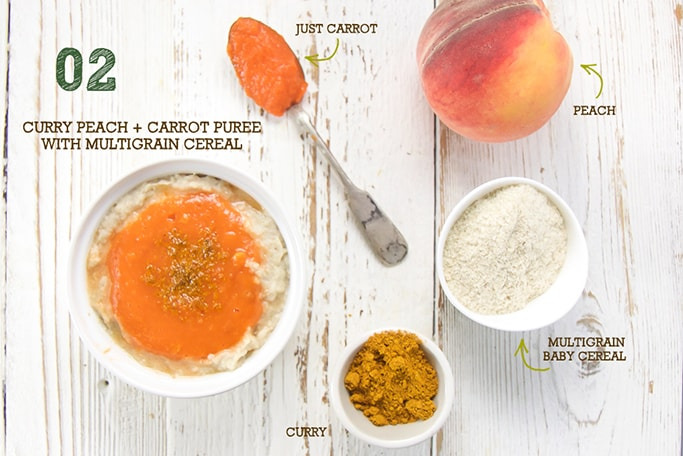 A spread of produce and ingredients to make this curry peach baby food puree.