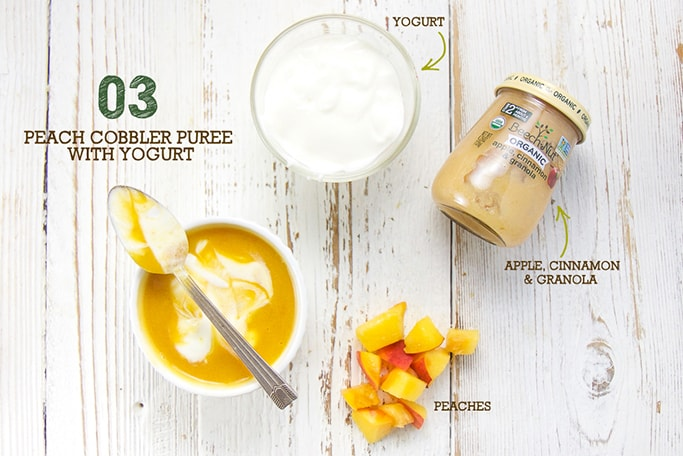 A spread of fresh and store bought ingredients to make this peach cover puree with yogurt.
