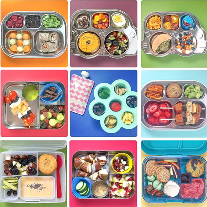 Grid of 9 colorful photos of preschool lunches.