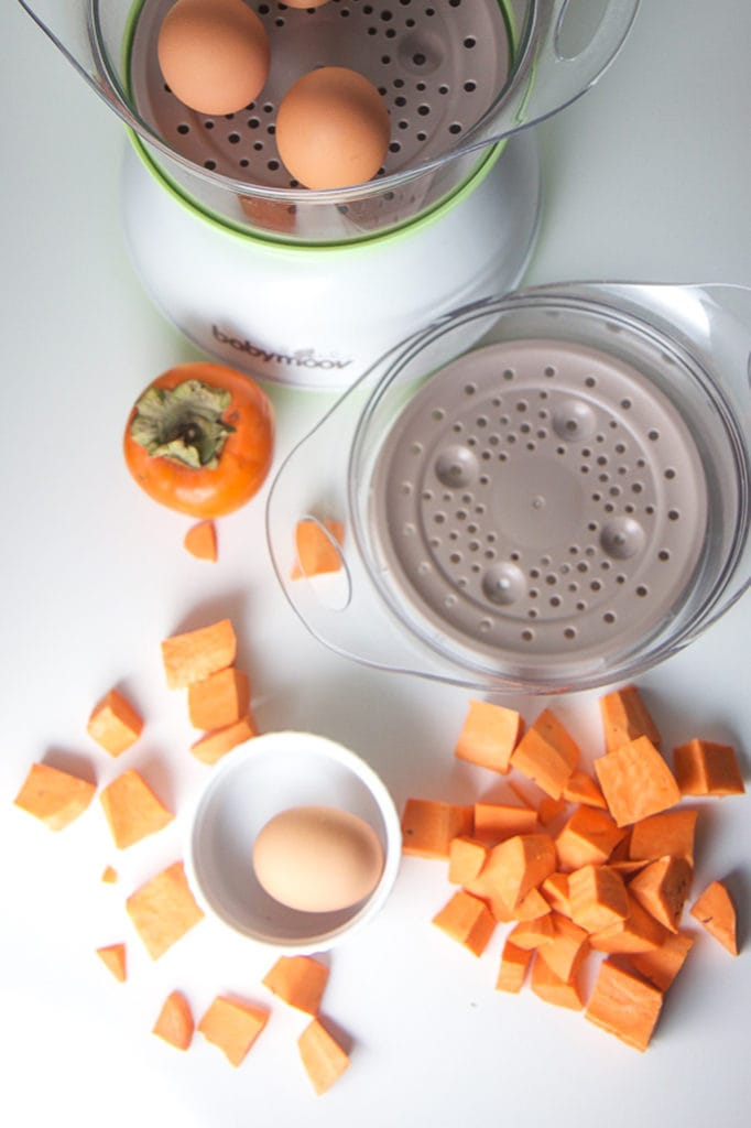 Spread of produce chopped and arranged around a baby food maker.