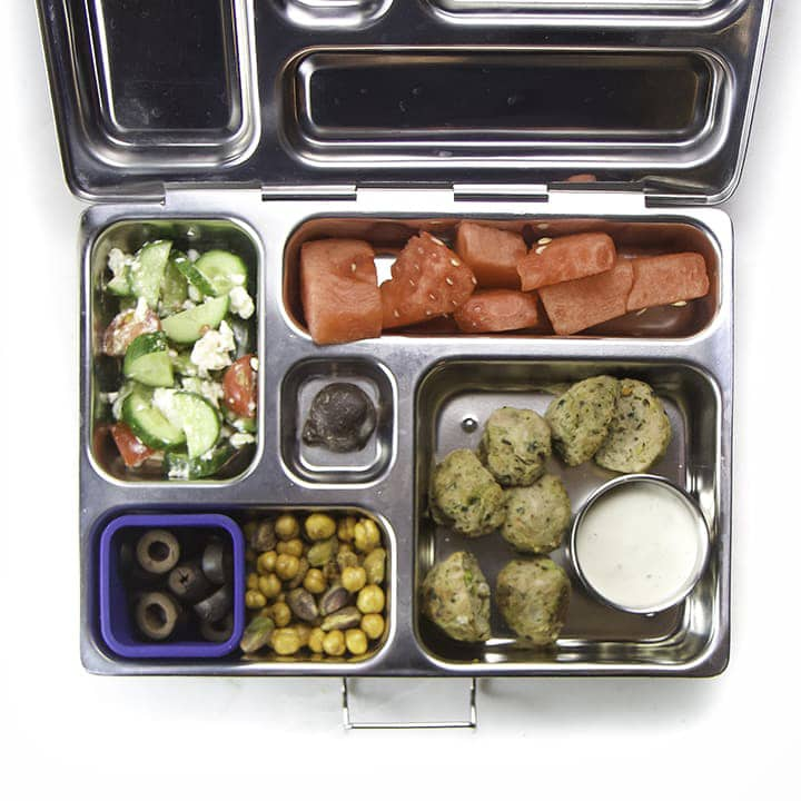 Meatballs and dip for this easy lunch box for kids.