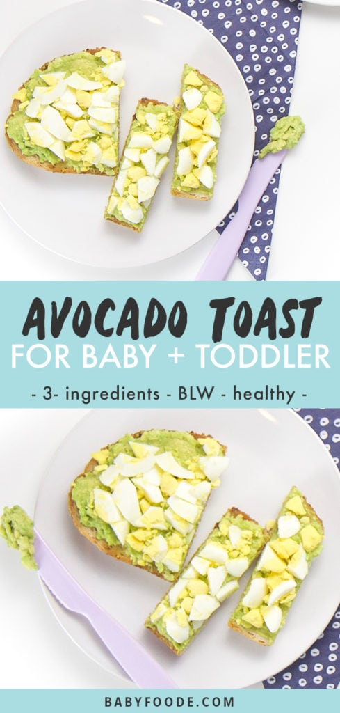 Avocado Toast for Baby and Toddler - 3 ingredients, baby led weaning and healthy. Images are of a white plate with pieces of toast on top.
