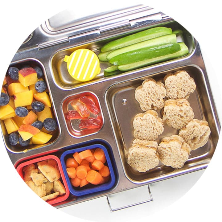 One bento box filled with a healthy school lunch - best bento boxes.