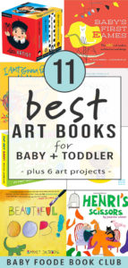 graphic for post - best art books for baby + toddler with a collage of board books around it.