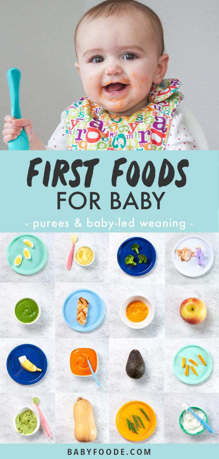 Graphic for best first foods for baby with images of food that are the best first foods for baby.