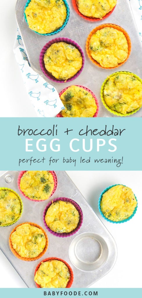 Pinterest collage for broccoli egg cups recipe.