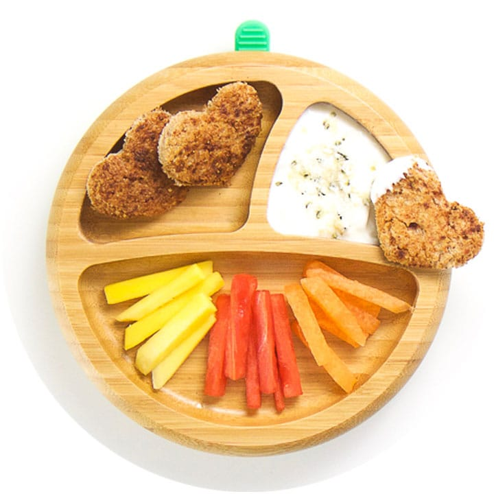 Wooden plate with Baby-Led Weaning breakfast on top.