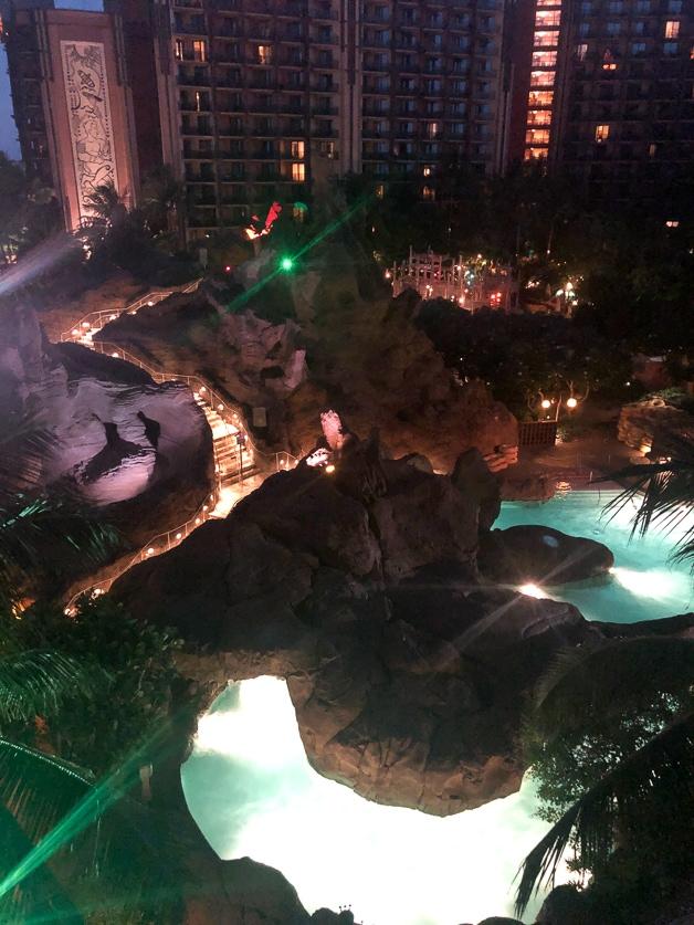 Nighttime at Disney Aulani.