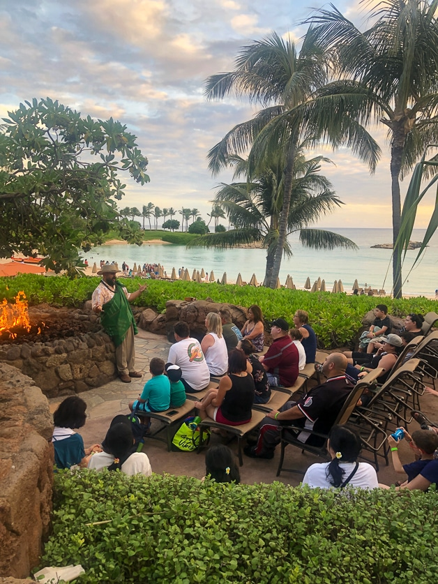 Uncle telling a story at Disney Aulani.