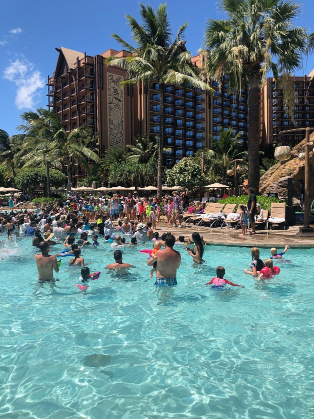 Dance party at the pool at Disney Aulani.