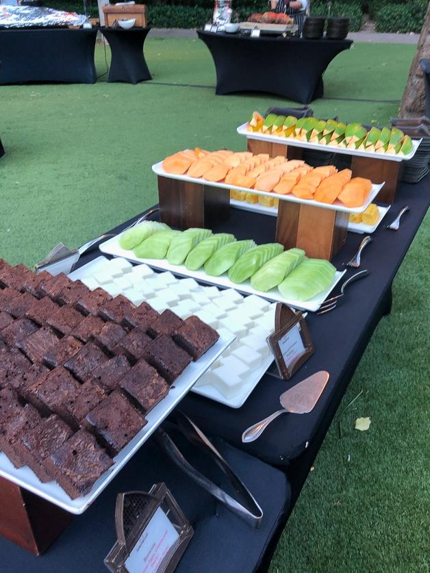 Fruit and dessert buffet at disney Hawaii.