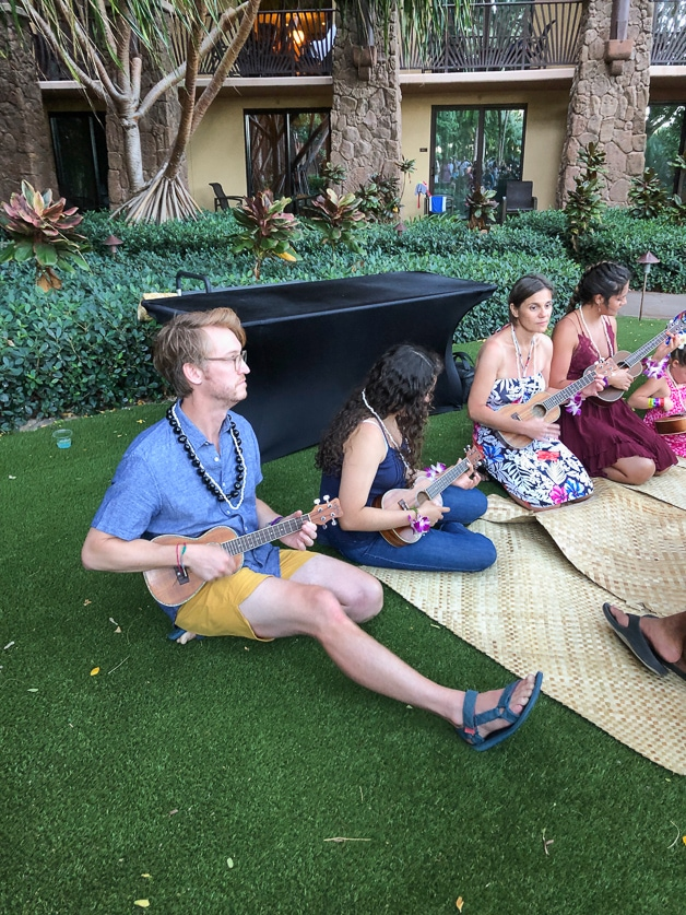 Dad during ukulele lesson before la'ua at Disney Aulani - best of.