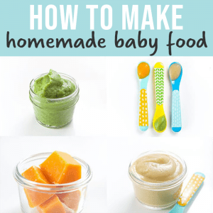 How to make homemade baby food - images in a grid of baby purees.