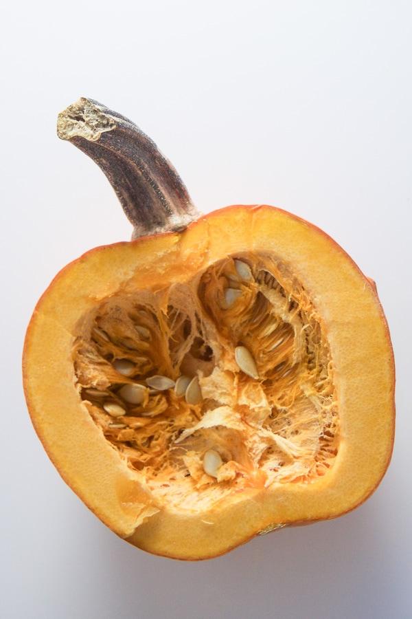 pumpkin cut in half.