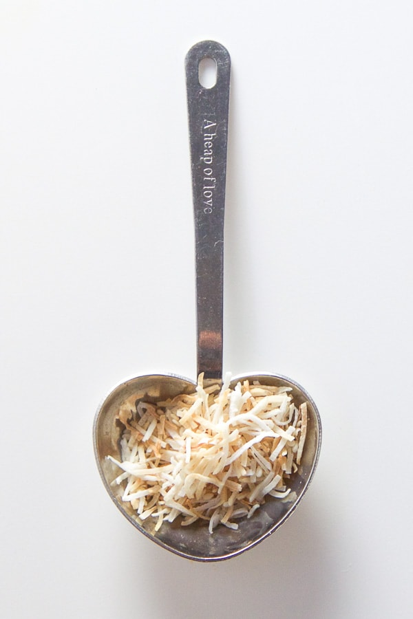 Spoonful of toasted coconut.
