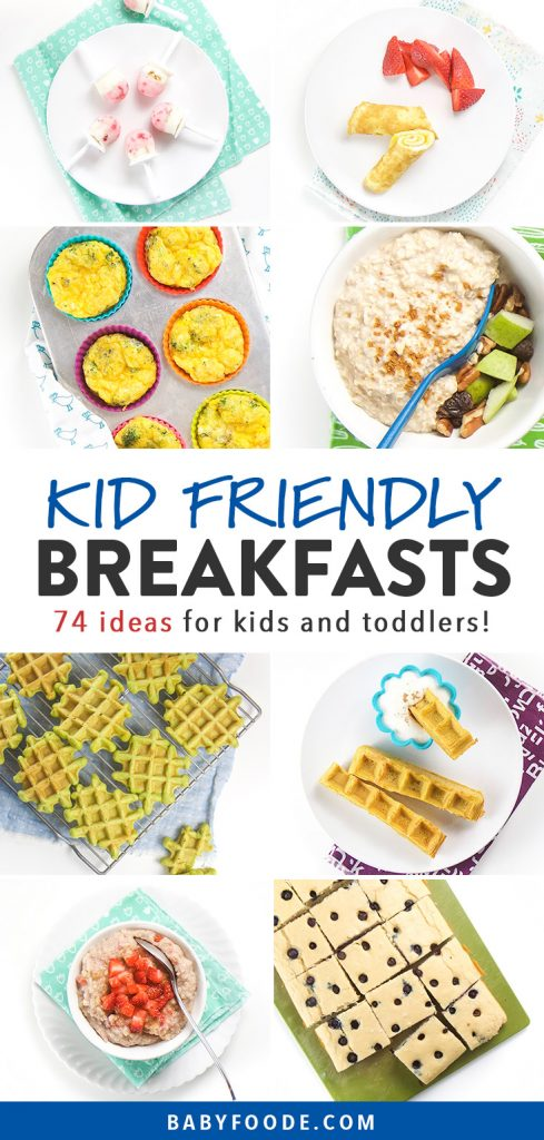 Pinterest collage for an article about breakfast ideas for kids and toddlers.