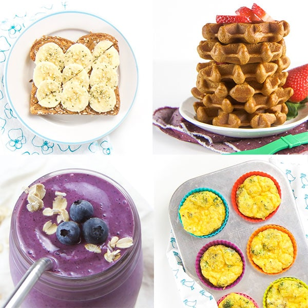 A grid of toddler breakfast ideas.