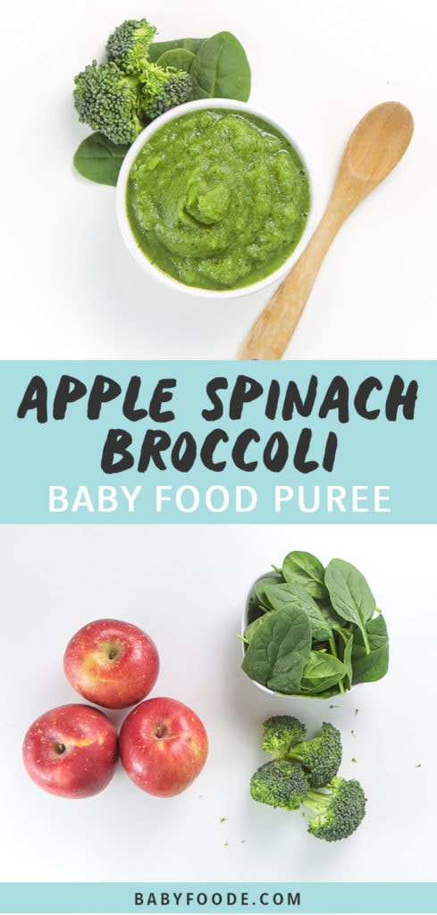Graphic for Post - Apple Spinach Broccoli Baby Food Puree. Image is of a small white bowl filled with homemade green puree with produce and spoon on the white background with another picture of the Produce scattered on background.