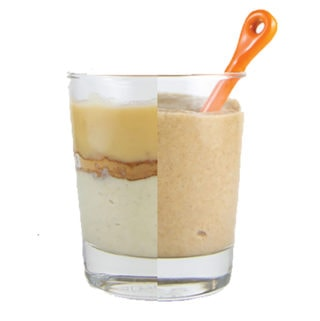 Clear cup - on one side is ingredients in the baby puree, on the other is the puree itself with an orange spoon inside.