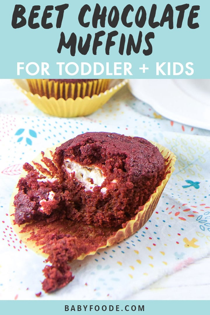 Graphic for Post - Beet Chocolate Muffins for Toddler + Kids. Image is of a Beet muffin half way unwrapped sitting on a napkin.
