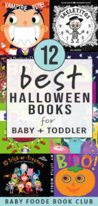 Graphic for post - Best Halloween boos for baby and toddler with a grid of book cover images.