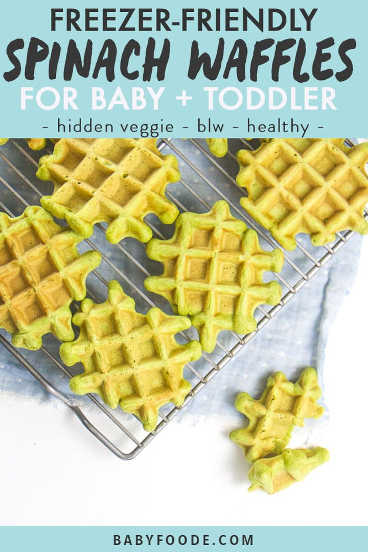 Graphic post for freezer-friendly spinach waffles for baby and toddler- hidden veggies - blw - healthy. Images is of waffles sitting on a cooling rack.