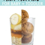 Graphic for Post - Sweet Potato Mini Muffins for Baby + Toddler. Image is of Class cup cut in half with half of it the ingredients in the muffins, the other half of the cup is the muffins themselves.