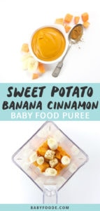 Graphic for Post - sweet potato, banana and cinnamon baby food puree. Image is of a small bowl filled with a homemade baby food puree with the other image being of a blender filled with cooked produce to make puree.