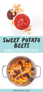 Graphic for Post - Sweet Potato, White Beans and Beets Baby food Puree. Small white bowl filled with homemade baby food puree surrounded by produce as well as an image of a steamer basket filled with produce.