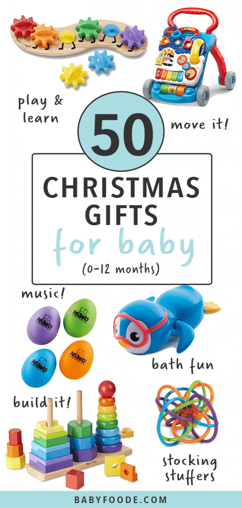 Graphic for Post- 50 Baby Christmas Gifts - 0-12 months. Images spread out of different fun and interactive baby toys.