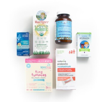 Spread of 6 different brands of the best probiotics for infants, baby and toddlers .