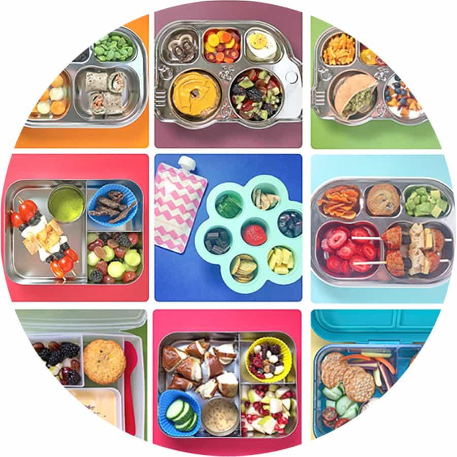 grid of preschooler school lunches.