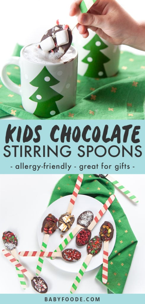 Graphic for post - kids chocolate stirring spoons - allergy-friendly- great for gifts with an image of small hand holding a chocolate stirring spoon dunking it in warm milk and a plate full of chocolate spoons with various toppings.