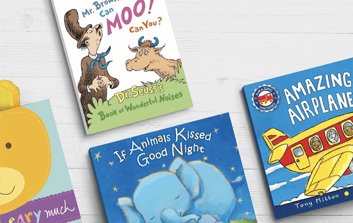 Spread of toddler books.