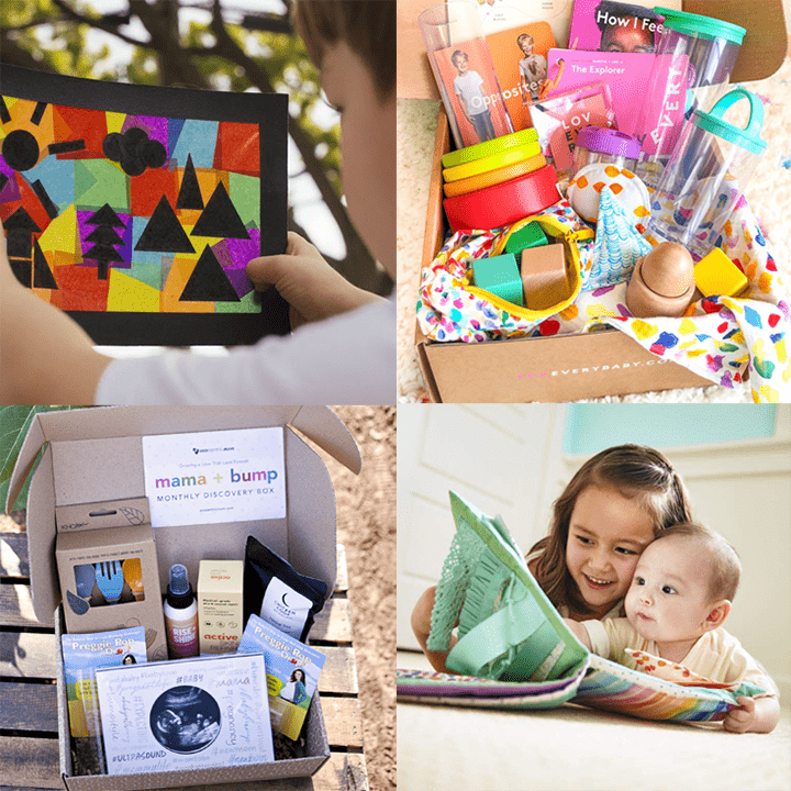 grid of photos of baby and toddler playing with the boxes as well as the boxes bursting with products.