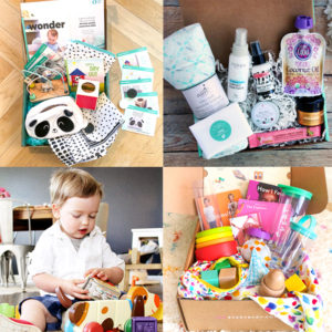 Grid of 4 subscription boxes for baby and toddler.