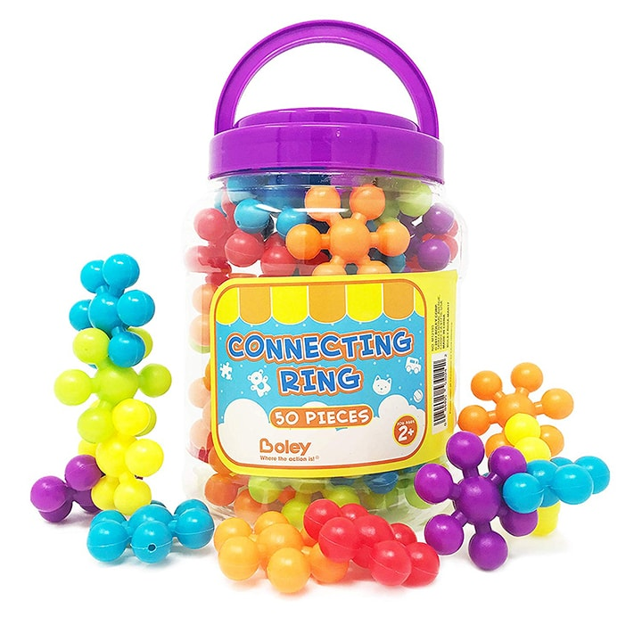 bucket of connecting rings for toddlers - great chirstmas gift.