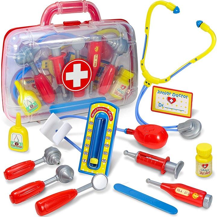 Toy medical kit for toddler and preschooler.