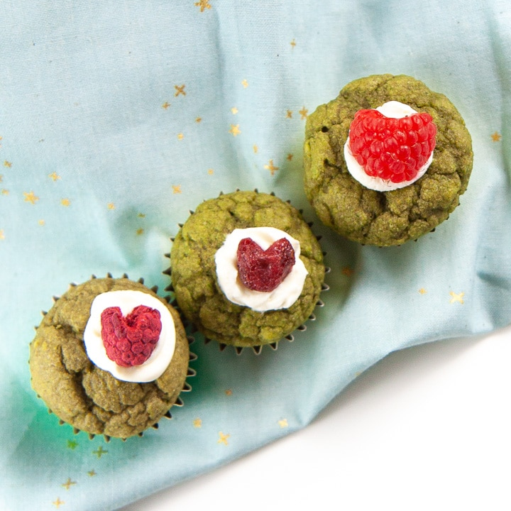 3 green muffins lined up with 3 different heart options.