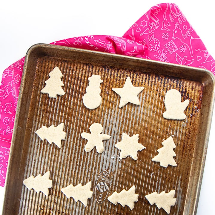 Baking sheet with healthy sugar cookies on it.
