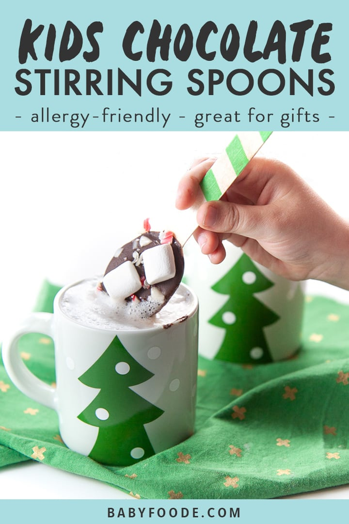 Graphic for post - kids chocolate stirring spoons - allergy-friendly- great for gifts with an image of small hand holding a chocolate stirring spoon dunking it in warm milk.