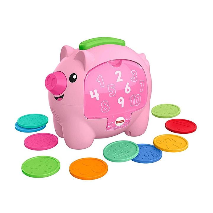 A pink piggy bank for toddler