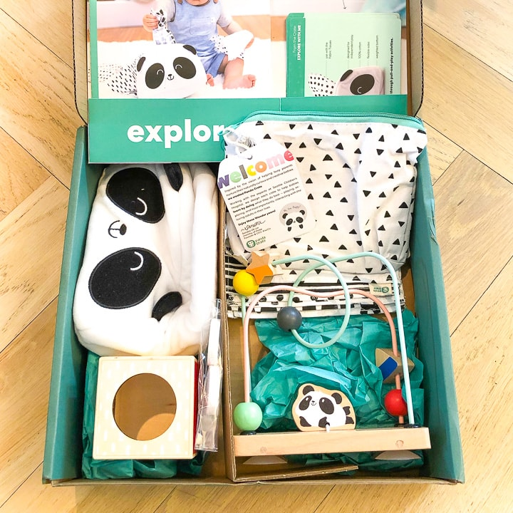 Panda Kiwi Crate - box filled with baby educational toys.