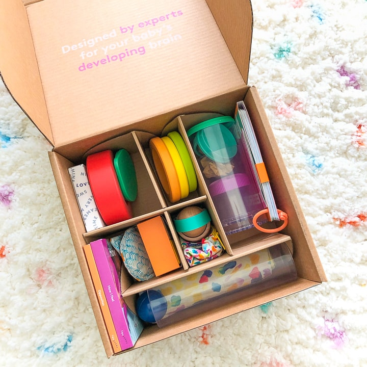 Lovevery Subscription box - box open with baby toys inside.