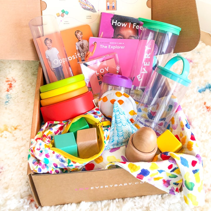 subscription box filled with baby and toddler toys.