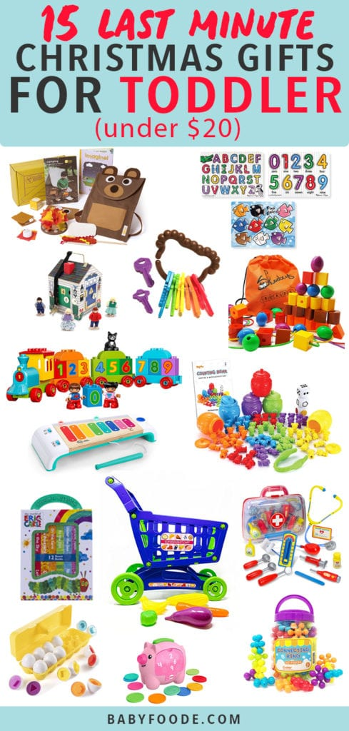 Graphic for post - 15 Last Minute Christmas Gifts for Toddler (under $20) with a spread of a colorful gifts.